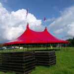 50ft x 75ft 2 pole red blackout tent on 10ft walls