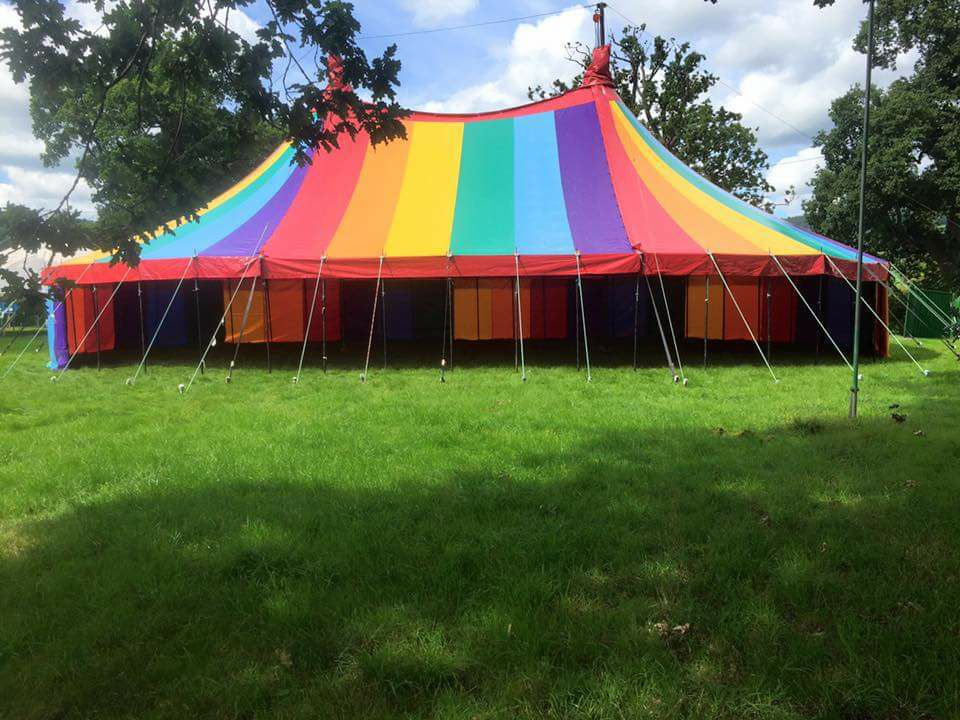 Our beautiful rainbow coloured tent is 1 year old and still looks stunning!